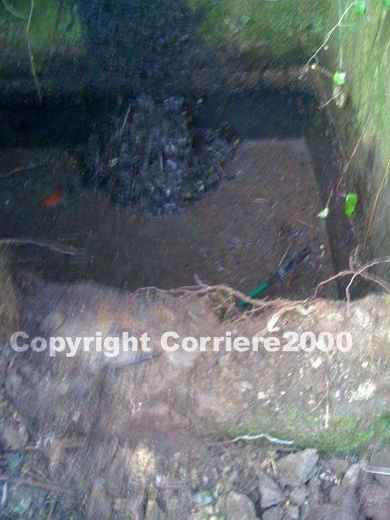 La vasca di scolo in cui è stato rinvenuto il cadavere
