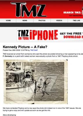 <p>La foto di Kennedy con quattro donne nude nella home di Tmz</p>