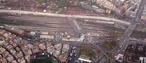 Un'immagine dall'alto della stazione Tiburtina