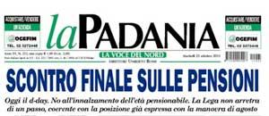 La prima pagina della Padania